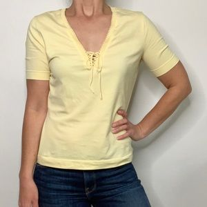 Escada Buttery Yellow Lace Up Short Sleeve Top
